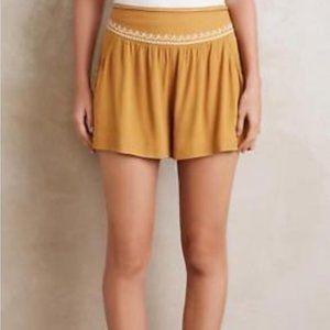 Anthropologie Elevenses Skirty Shorts Mustard